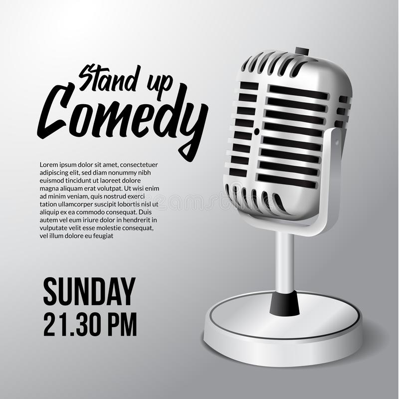 3D realistic standing vintage microphone illustration with white background for stand up comedy show. Poster banner template vector illustration