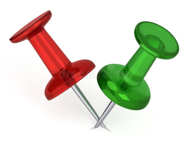 Download 3D Realistic Thumbtacks - Red And Green Stock Illustration - Image: 32462618