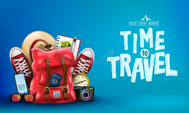 3D Realistic Time to Travel Banner with Items for Travelling like Backpack royalty free illustration