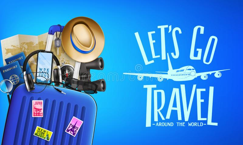 3D Realistic Travel Banner Front View with Let`s Go Travel Around the World Message and Travelling Items. Such as Luggage Bag,  Binoculars, Map, Magnifying stock illustration