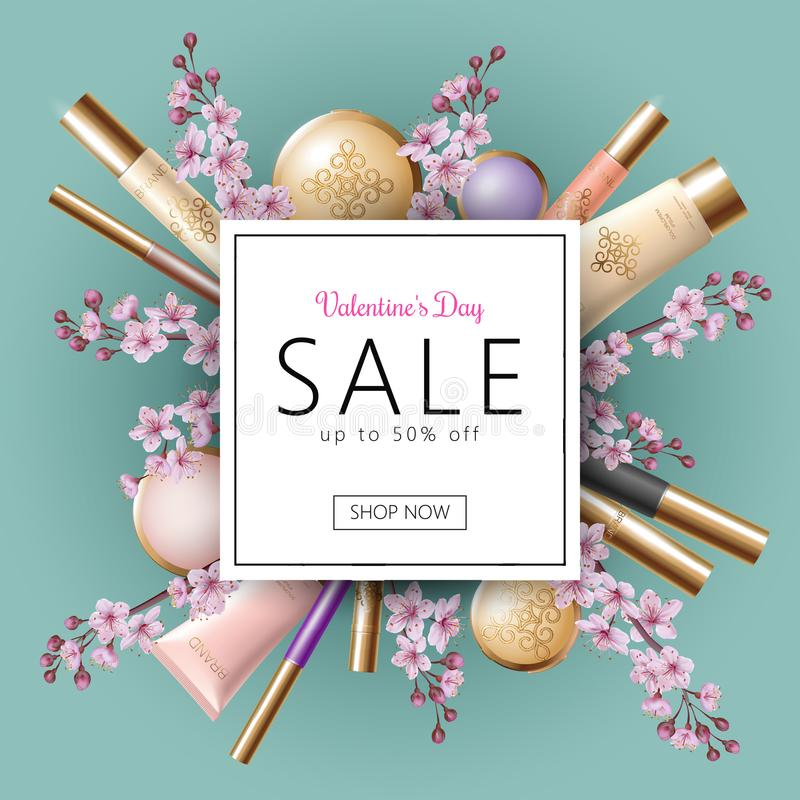 3D realistic Valentine Day sale banner template. Discount offer spring flower sakura pink petal cosmetic package mock up royalty free illustration
