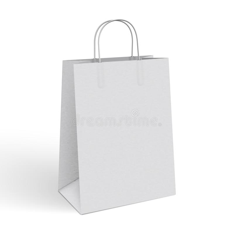 3d Realistic Vector Illustration Of White Paper Shopping Bag Stock ...