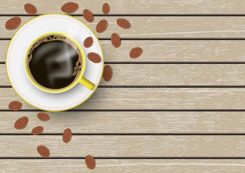 3d realistic yellow and white coffee cup with saucer and coffee beans on brown vintage wooden table vector illustration stock illustration