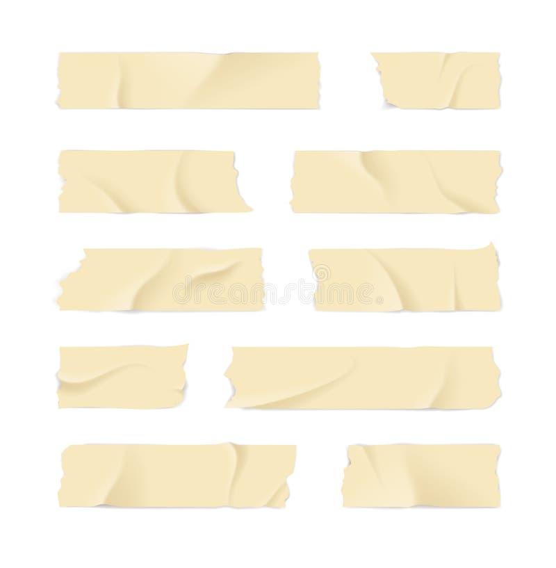 3d realistico ha dettagliato l'adesivo o la serie di cassette di mascheramento Vettore illustrazione vettoriale