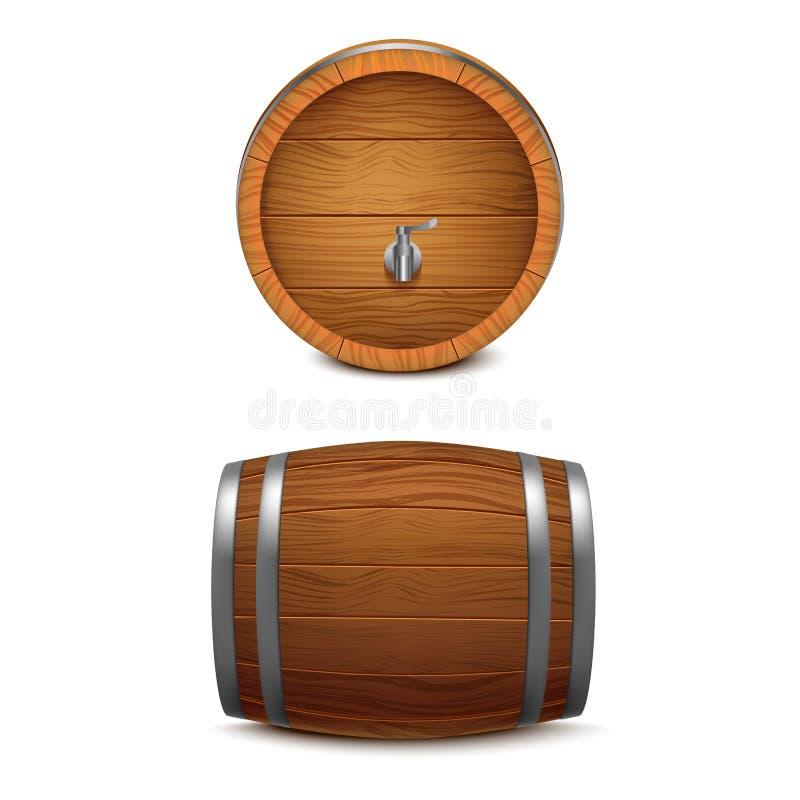 3d realistico ha dettagliato l'insieme di legno del barilotto Vettore illustrazione di stock