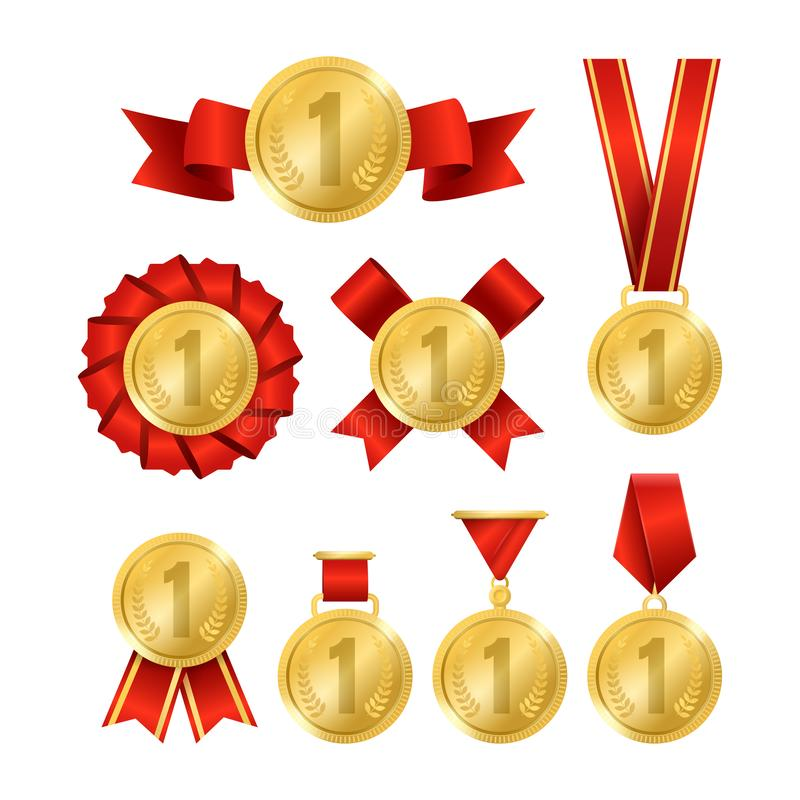 3d realistico ha dettagliato l'insieme dorato della medaglia del premio Vettore illustrazione di stock