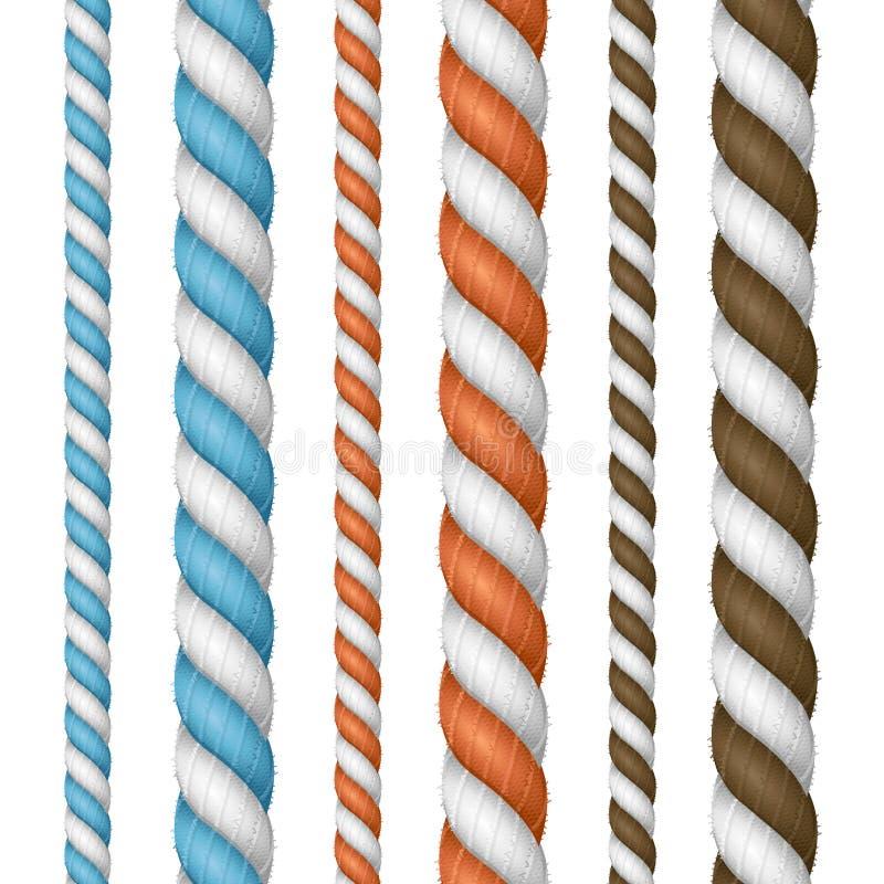 3d realistico ha dettagliato la linea insieme della corda di spessore Vettore illustrazione di stock