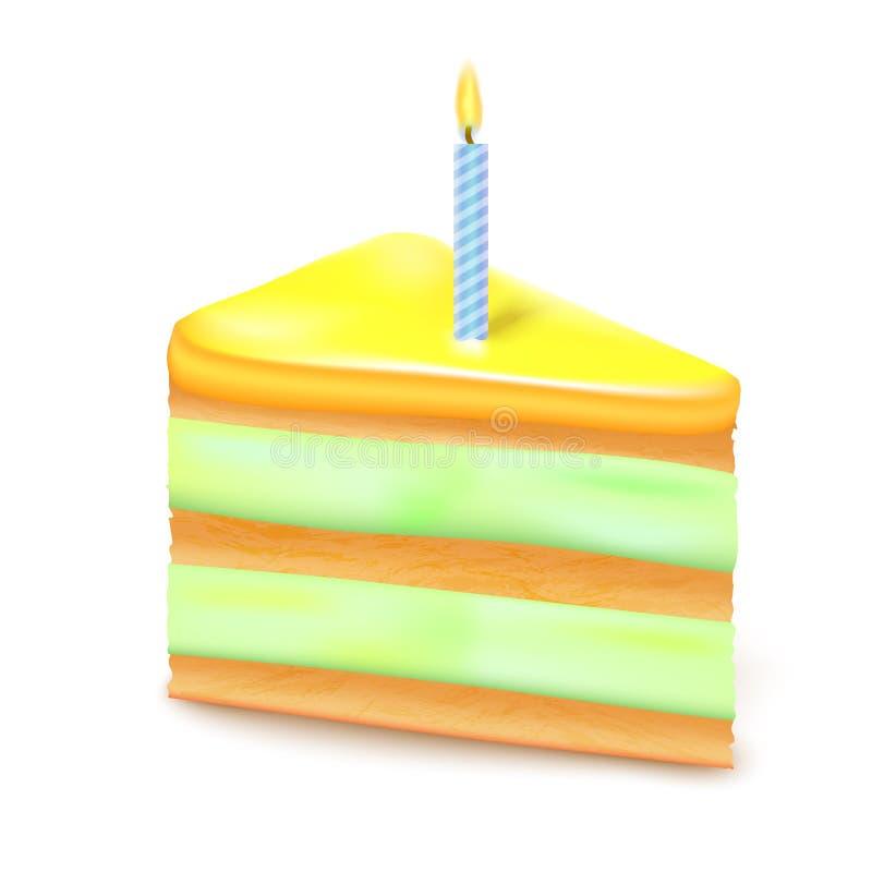 3d realistico ha dettagliato la torta di compleanno della fetta Vettore royalty illustrazione gratis