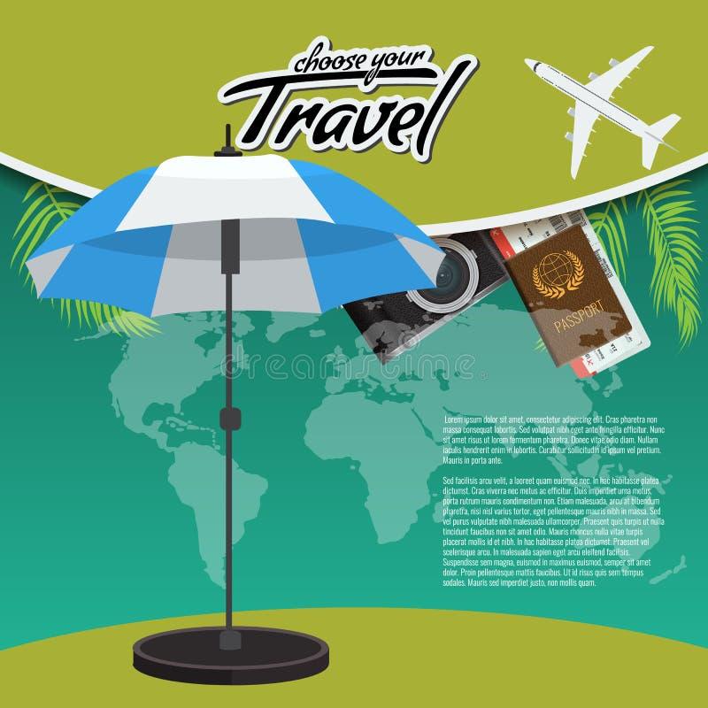 3D Realistisch Reis en Reis creatief Afficheontwerp met realistisch vliegtuig, strandparaplu, wereldkaart, paspoort en lucht stock illustratie