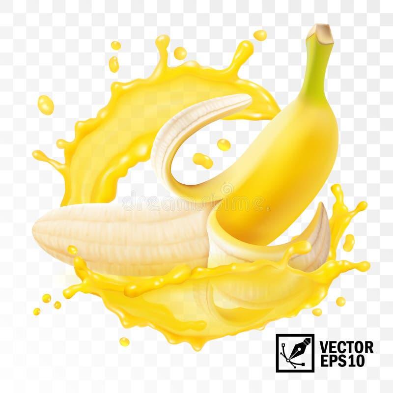 3d realistisch transparenced geïsoleerd vector, gepeld banaanfruit in een plons van sap met dalingen, eetbaar met de hand gemaak vector illustratie