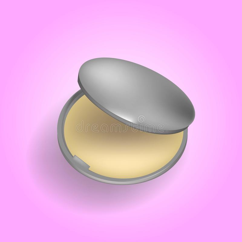 3d realistisch van poeder-geval Beige poeder voor make-up in metaal rond plastic geval Schoonheidsmiddel voor samenstelling en sc vector illustratie