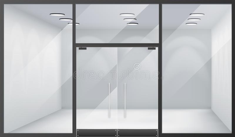 3d realistische de venstersruimte van de winkel lege binnenlandse vooropslag sloot het model van het deurenmalplaatje vectorillus vector illustratie