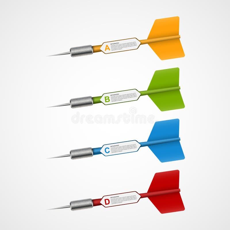 3d realistische doel van het concepten infographic malplaatje met pijltjes vector illustratie