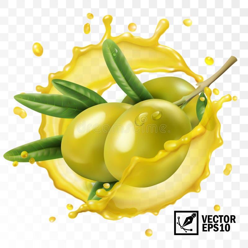 3d realistische geïsoleerde transparante vectorplons van olijfolie met een tak van olijfvruchten met bladeren vector illustratie