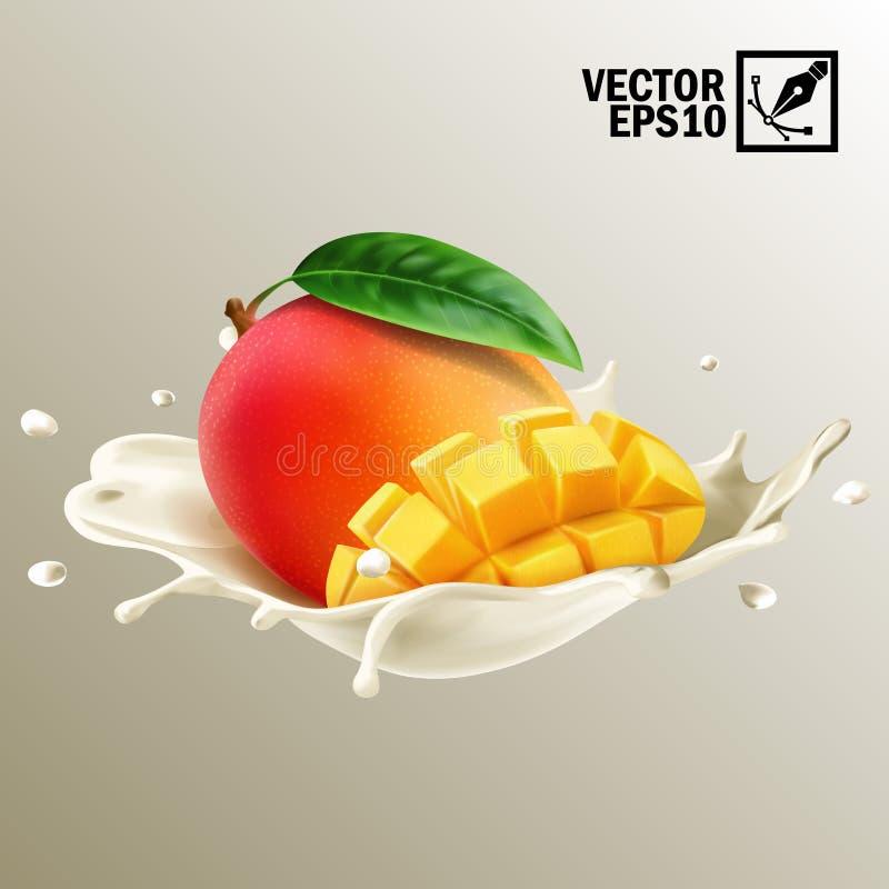 3d realistische geïsoleerde vector, plonsmelk of yoghurtgeheel en plak van mangofruit, editable met de hand gemaakt netwerk vector illustratie