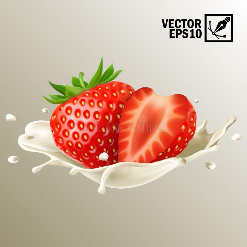 3d realistische geïsoleerde vectormelk of de yoghurt bespat geheel en plak van aardbei, editable met de hand gemaakt netwerk royalty-vrije illustratie
