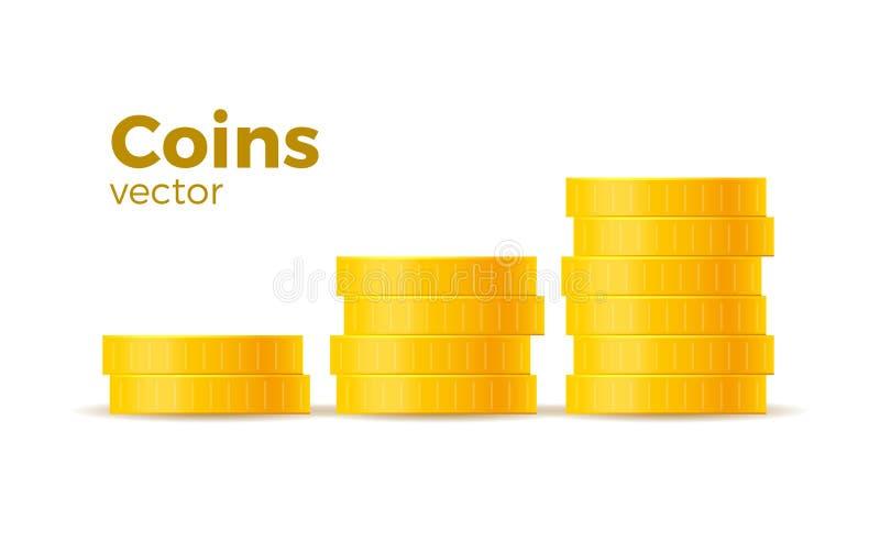 3d realistische gouden die muntstukken op wit in verschillende posities worden geplaatst Geld dat op wit wordt geïsoleerds Vector stock illustratie