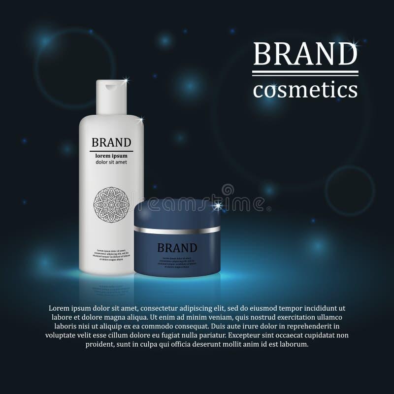 3D realistische kosmetische malplaatje van flessenadvertenties Het kosmetische merk reclameconceptontwerp met schittert en bokeh  royalty-vrije illustratie