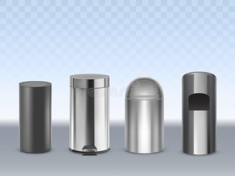 3d realistische vectorreeks van metaalvuilnisbakken royalty-vrije illustratie