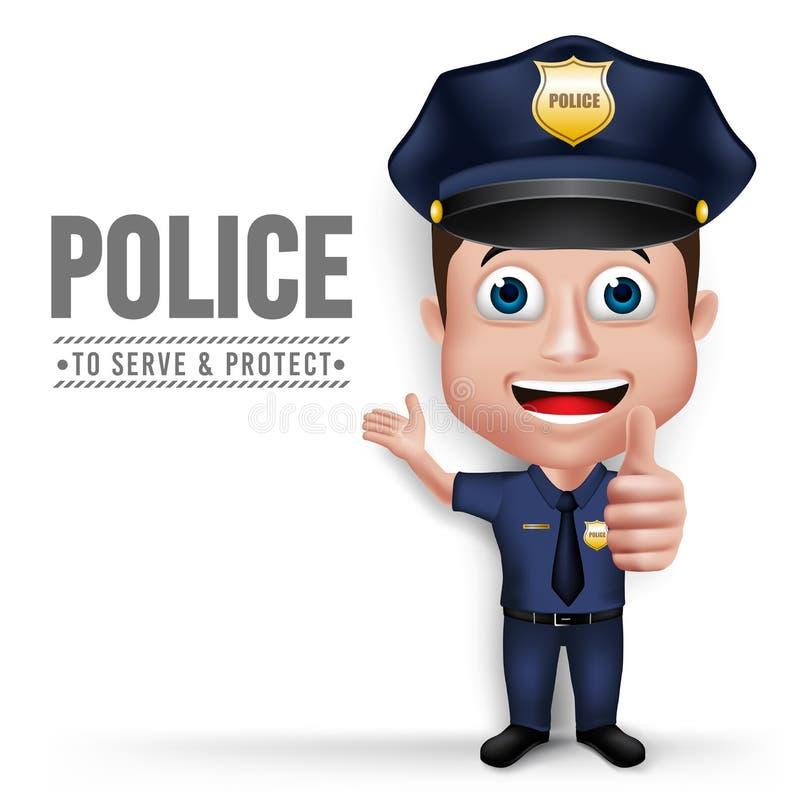 3D Realistische Vriendschappelijke het Karakterpolitieagent van de Politiemens vector illustratie
