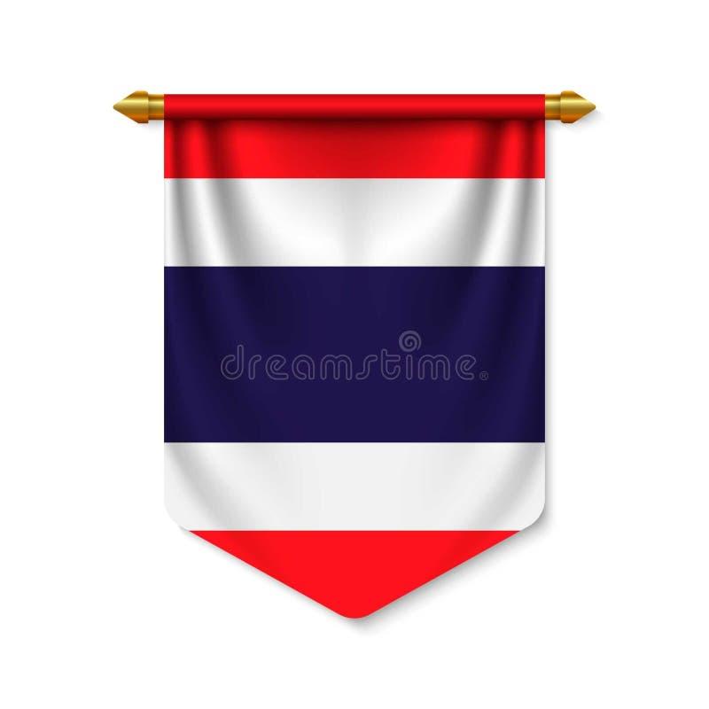 3d realistische wimpel met flagn royalty-vrije illustratie