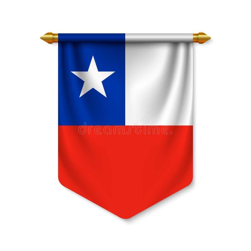 3d realistische wimpel met vlag royalty-vrije illustratie