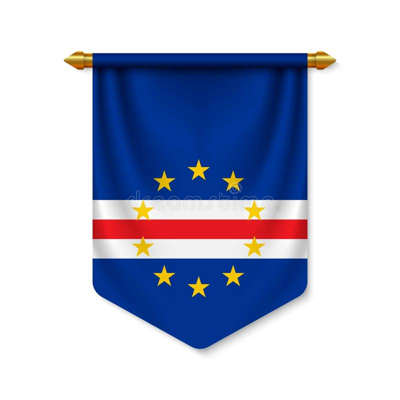 3d realistische wimpel met vlag stock illustratie