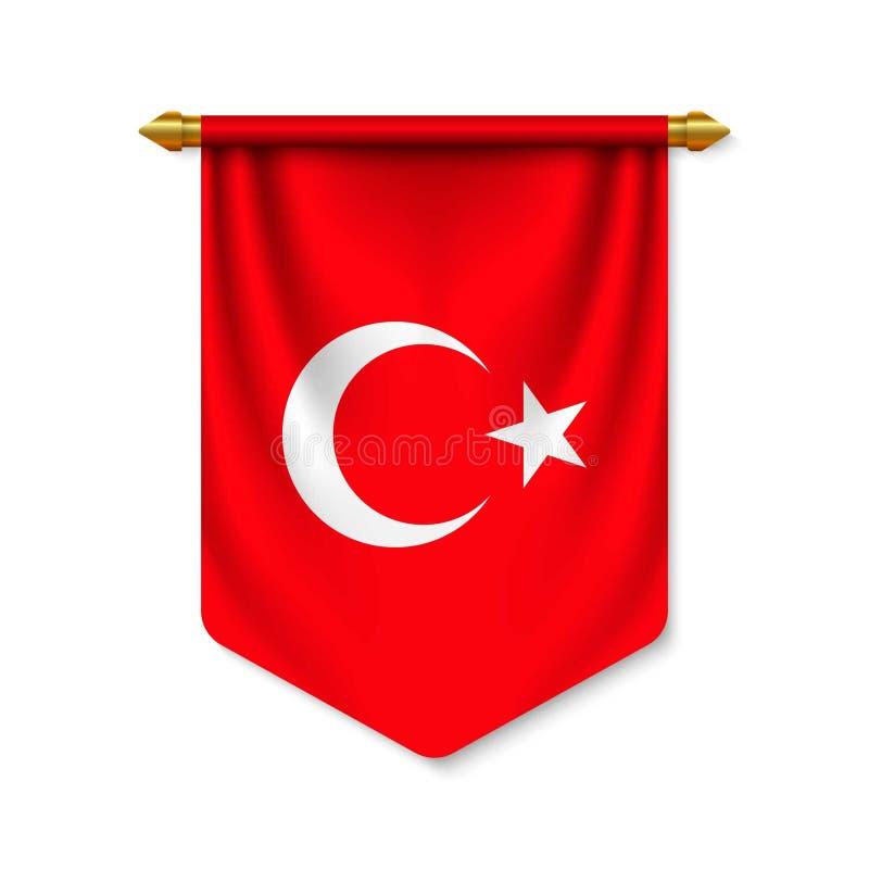 3d realistische wimpel met vlag vector illustratie