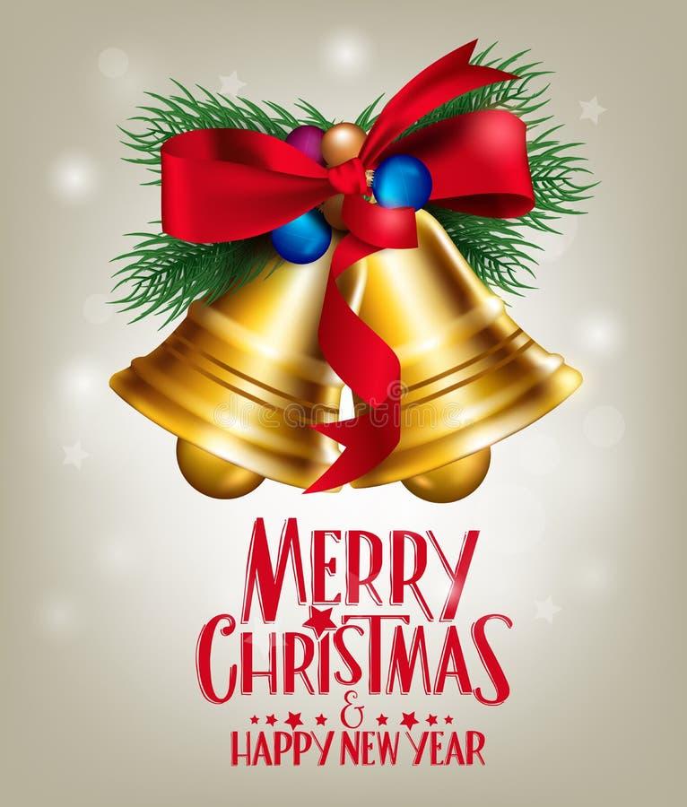 3D realistisk glad jul Klockor som hänger med rött royaltyfri illustrationer