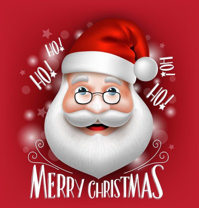 3D realistiska Santa Claus Head Greeting Merry Christmas royaltyfri illustrationer
