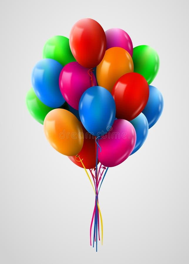 3d Realistyczna Kolorowa wiązka Latający Urodzinowi balony Przyjęcia i świętowania pojęcie royalty ilustracja