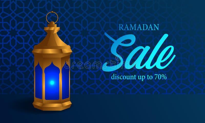 3D realistyczna złota fanous arabska lampa z błękitnego tła Ramadan sprzedaży błyszczącym sztandarem ilustracji