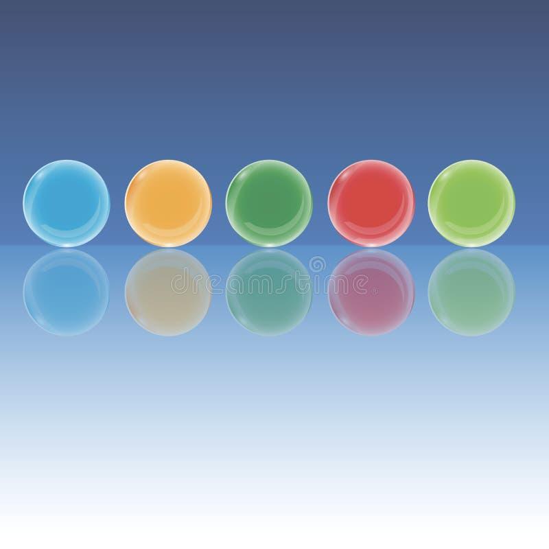 3d realistyczne szklane piłki różni kolory royalty ilustracja