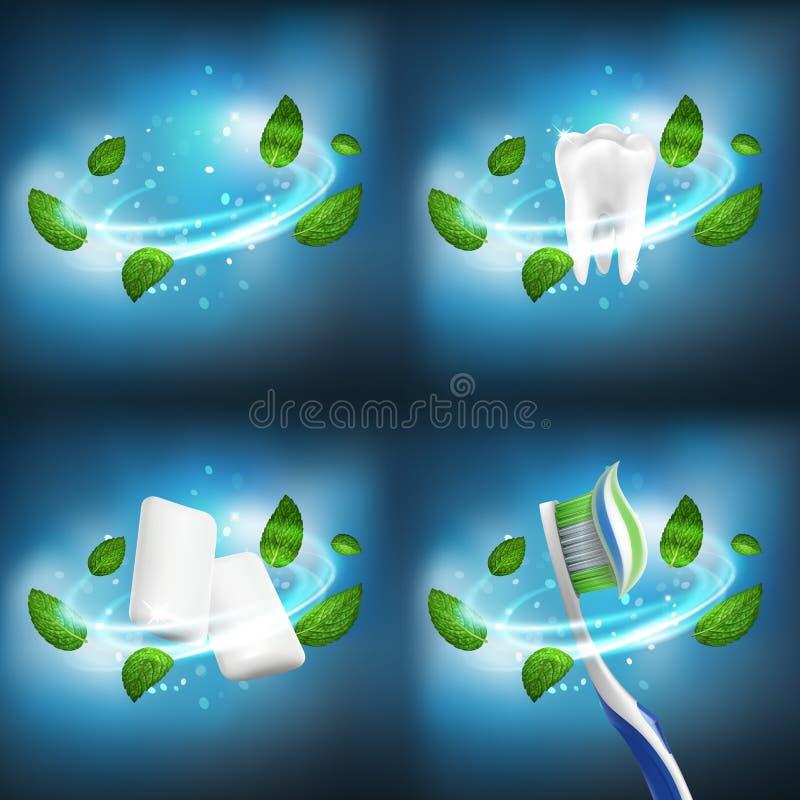 3D realistycznego wektorowego stomatologicznego setu vortex oddzielni liście mennica, zdrowy ząb, gumowi wyrka, toothbrush z wyrz ilustracji