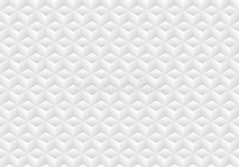 3D realistycznej geometrycznej symetrii biali i szarzy gradientowi kolorów sześciany deseniują tło i teksturę royalty ilustracja