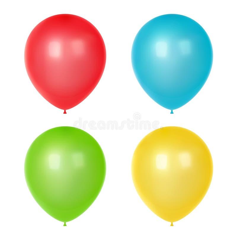 3d Realistyczni Kolorowi balony Urodziny szybko się zwiększać dla przyjęcia i świętowań ilustracja wektor