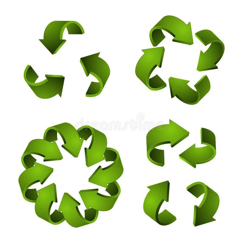 3D reciclan iconos Flechas del verde del vector, reciclando símbolos aisladas en el fondo blanco stock de ilustración