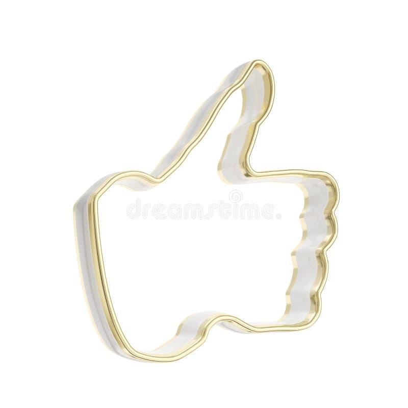 D'or reconnaissez comme l'emblème lustré de signe illustration stock