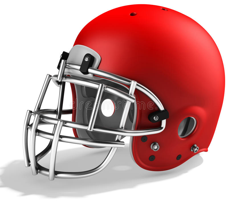 3d Red American football helmet. On a white background vector illustration