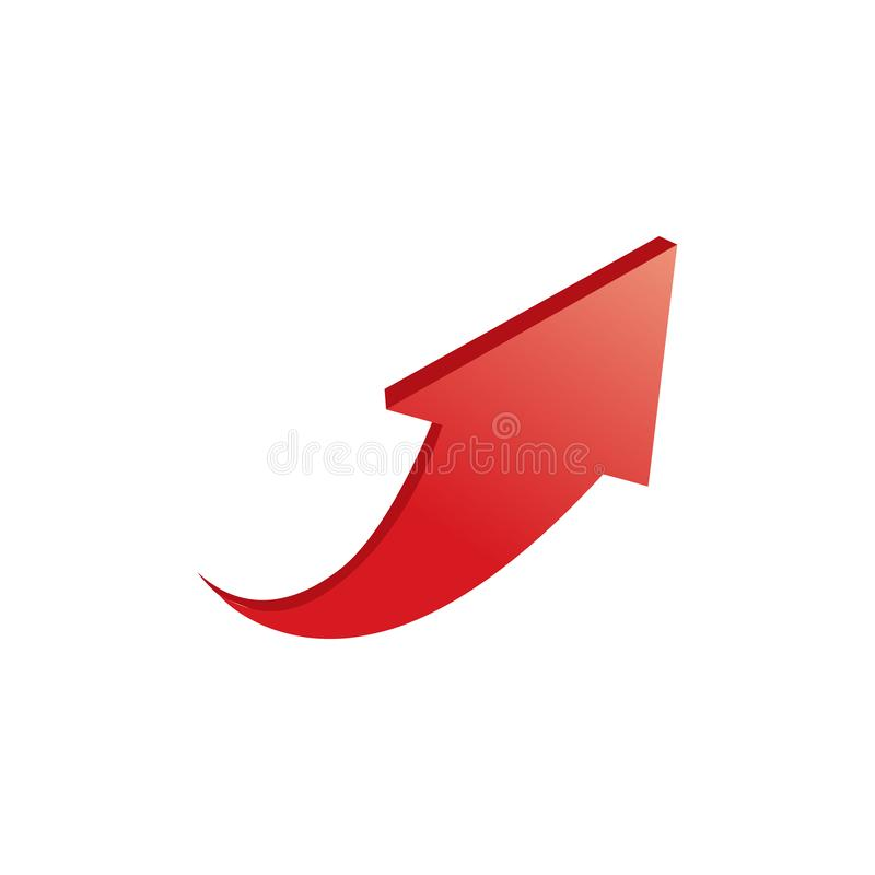 3D red arrow up, Vector illustration isolated on white background stock illustration