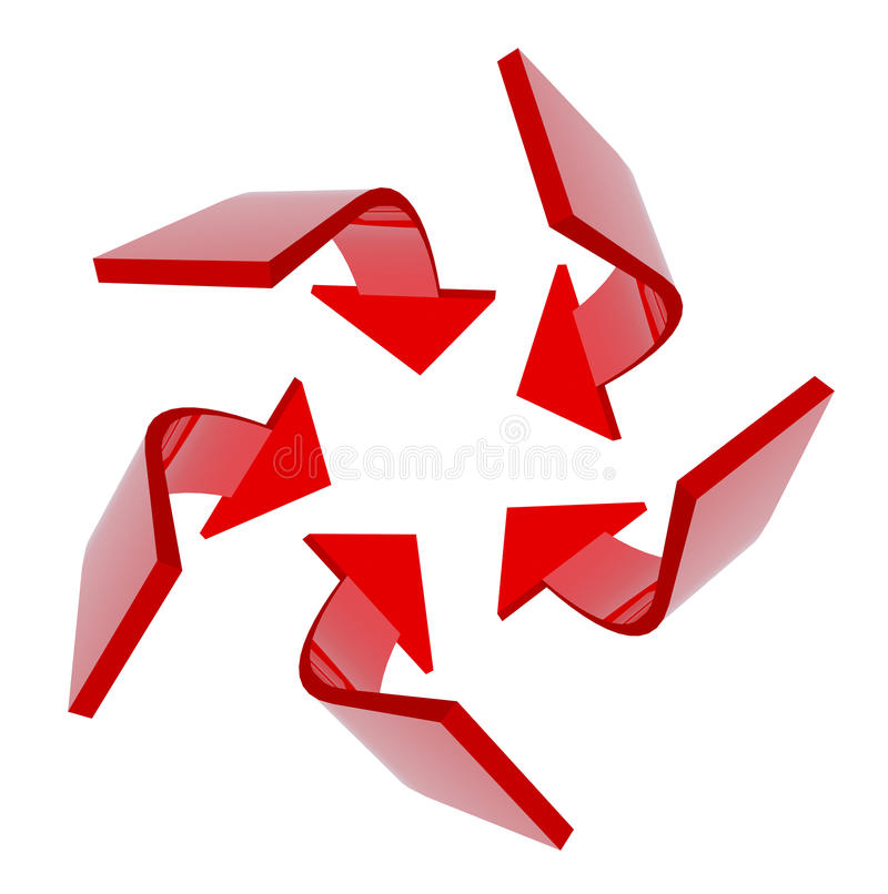 3D red arrows aiming for the center 2 royalty free illustration