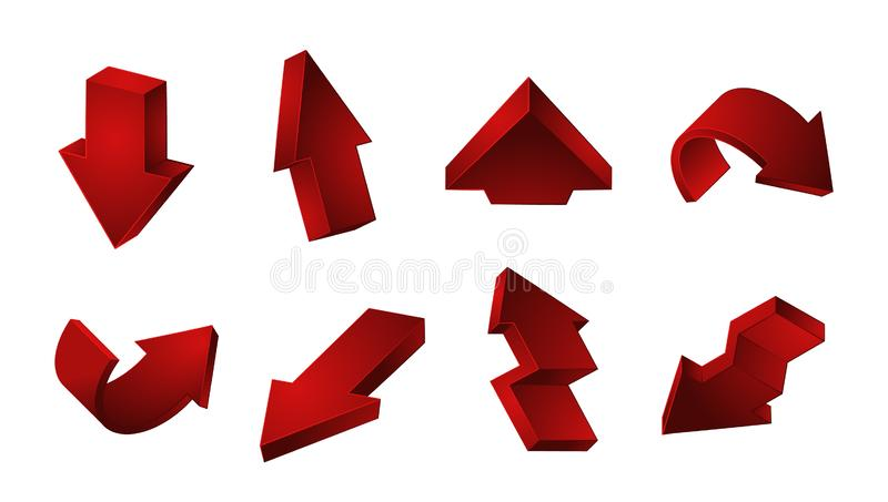 3D red arrows collection. Vector Up Down Recycling arrows isolated on white background royalty free illustration
