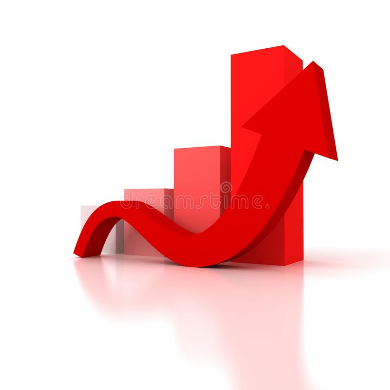 3d red bar success graph arrow rise profits or earnings stock illustration