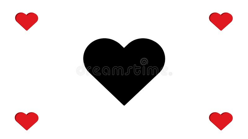 3D Red and Black Heart Hearts Multiple Four Simple Love Vector Illustration Design vector illustration