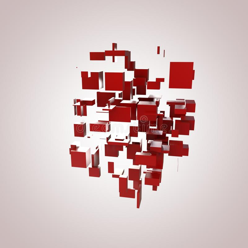 3D Red Blocks. Hi-Tech Background stock illustration