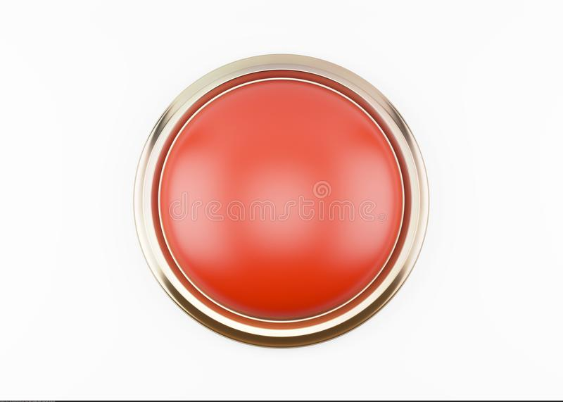 Red button isolated on white stock images