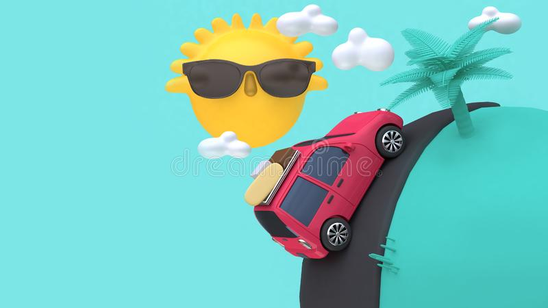 Red car with many objects on road mini world yellow sun clouds tree cartoon style 3d rendering holiday,going-travel,sea,beach,s. 3d red car with many objects on vector illustration