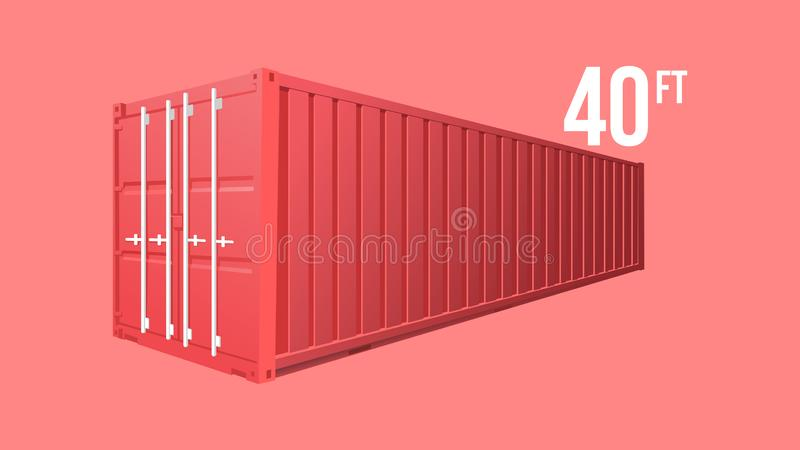 Red Shipping Cargo standard cargo 40 feet Container for Logistics and Transportation Isolated On White Background Vector Illustrat. 3D Red Cargo Container Vector stock illustration