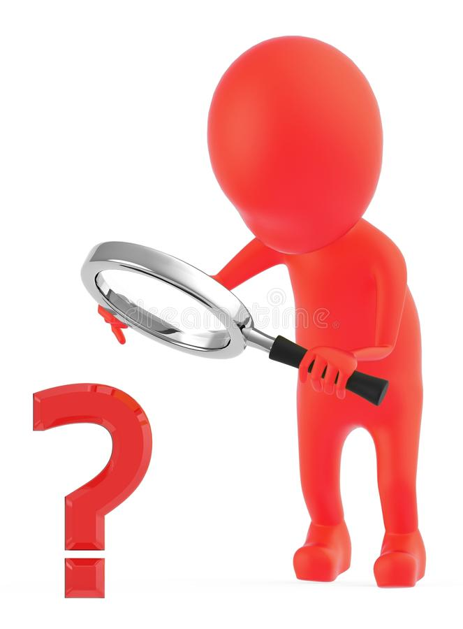 3d red character examining a question mark sign through a magnifier which the character is holding on his hands royalty free illustration