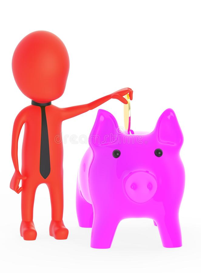 3d red character inserting golden coin to piggy bank royalty free illustration